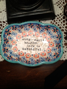 Just a little dish on the nightstand in Florida.